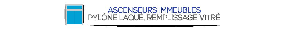 ASCENSEURS IMMEUBLES - PYLÔNE LAQUÉ, REMPLISSAGE VITRÉ